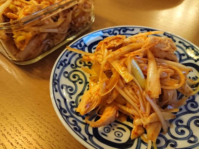 鶏ささみと白髪ネギのピリ辛和え物のレシピ写真