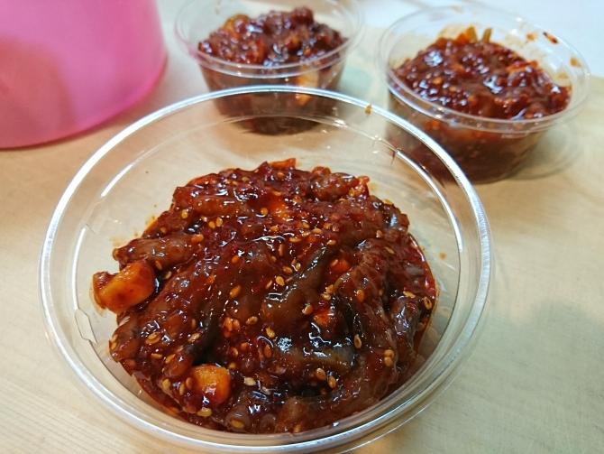 韓国で購入した塩辛の写真:イイダコの塩辛