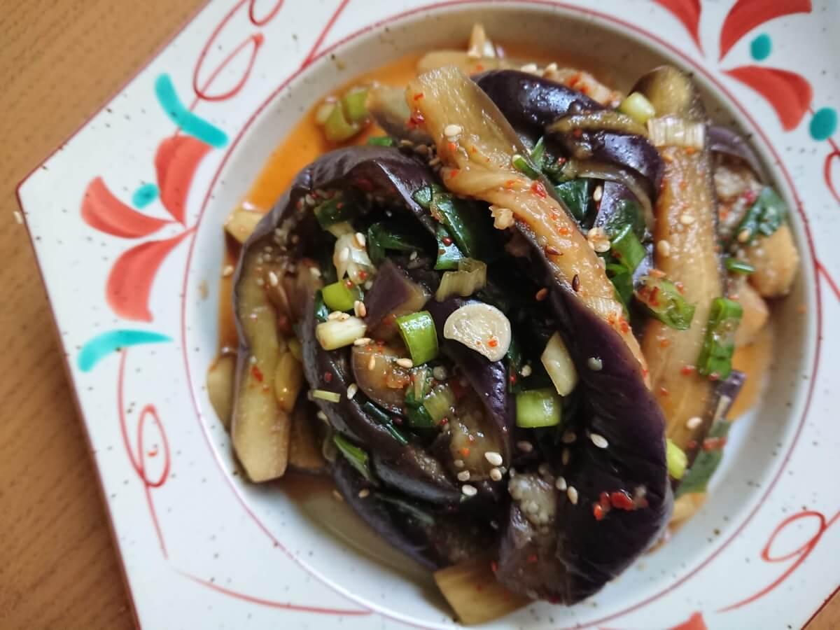 茄子のナムル。韓国のレシピ