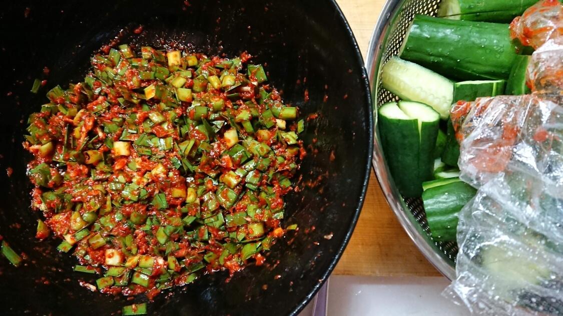本格オイキムチの作り方(きゅうりのキムチ)。ヤンニョムと魚醤