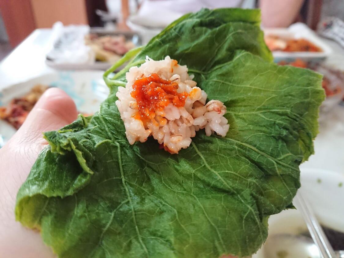 サムジャンの食べ方。かぼちゃの葉