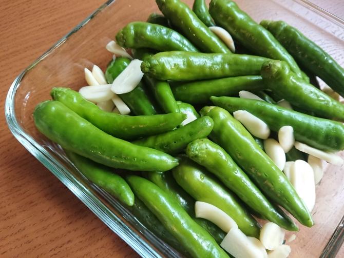 青唐辛子の醤油漬け:コチュチャンアチの作り方写真