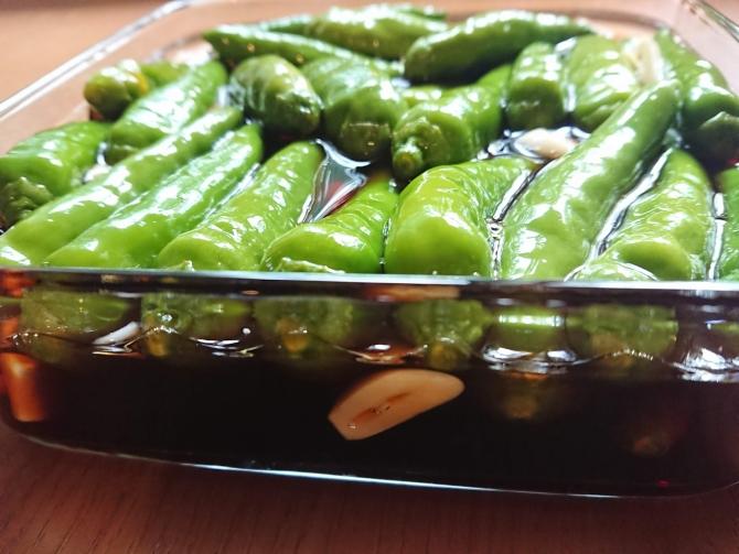 青唐辛子の醤油漬け:コチュチャンアチのレシピ写真