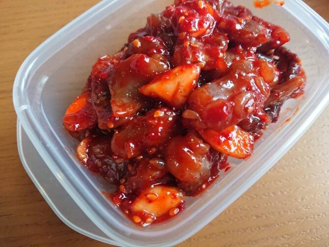 韓国のスーパーで購入した調味料・食べ物の写真:チャンジャ