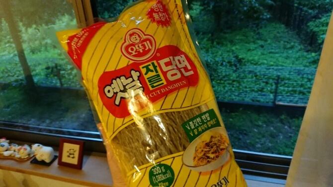 韓国のスーパーで購入した調味料・食べ物の写真:韓国の春雨、タンミョン