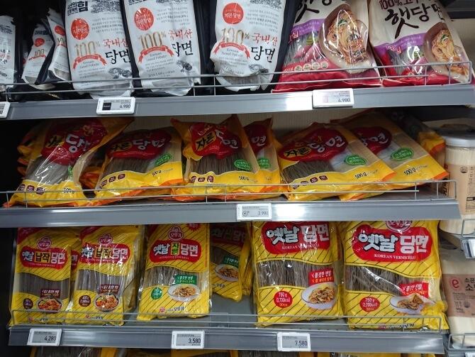 韓国のスーパーで購入した調味料・食べ物の写真:チャプチェの春雨