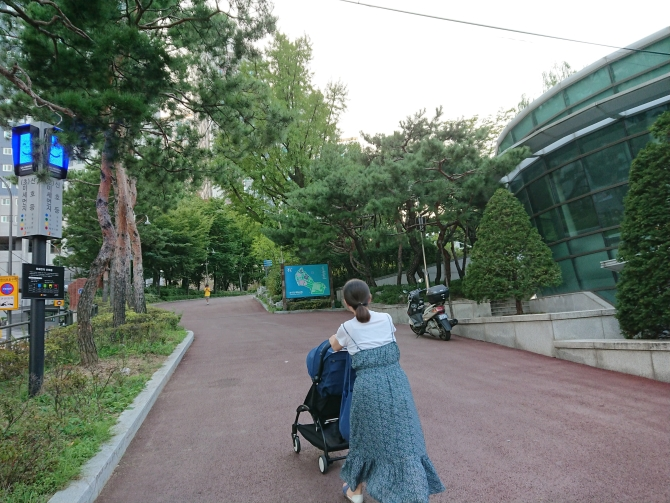 韓国の豚足「チョッパル」を食べた後の散歩写真