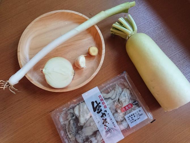 生牡蠣と大根のキムチの材料写真