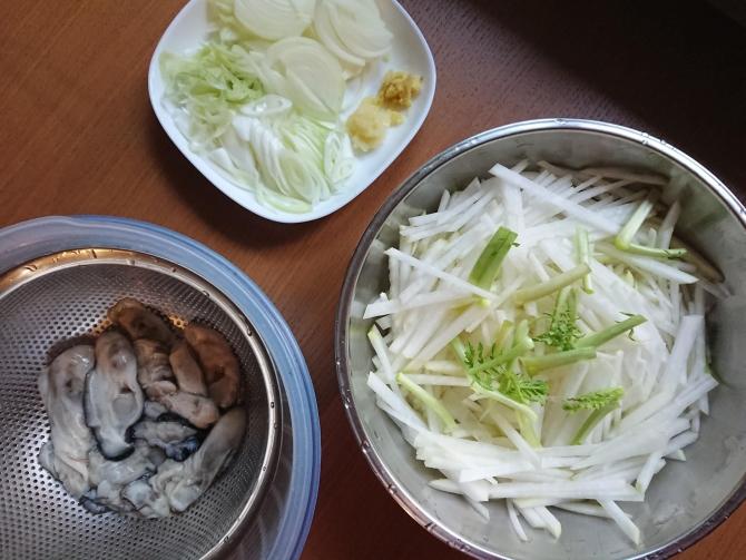 生牡蠣と大根のキムチの具材写真