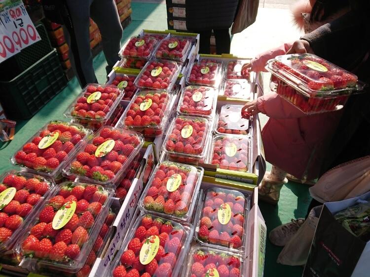 韓国のスーパーで果物