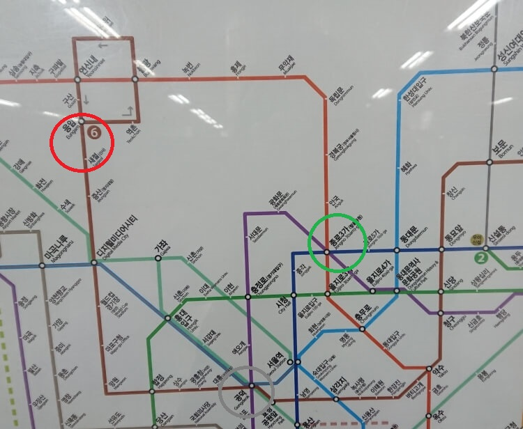 韓国地下鉄の路線図