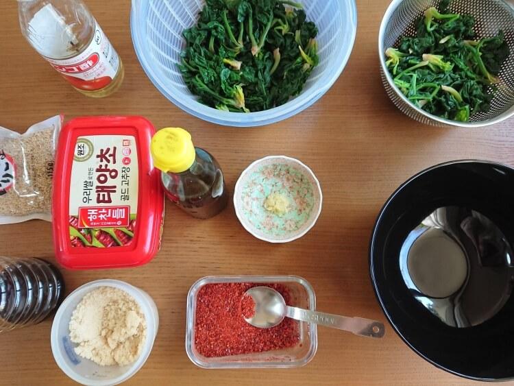 ほうれん草のナムルのレシピの調味料
