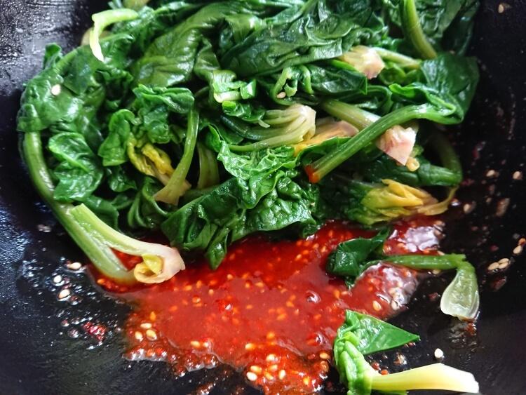 ほうれん草のピリ辛和え物の韓国レシピ写真