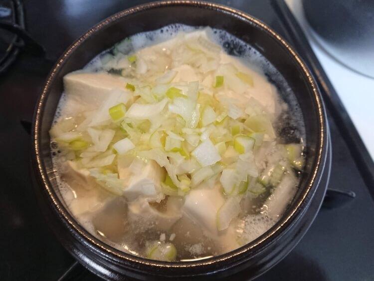 白いスンドゥブチゲのレシピ