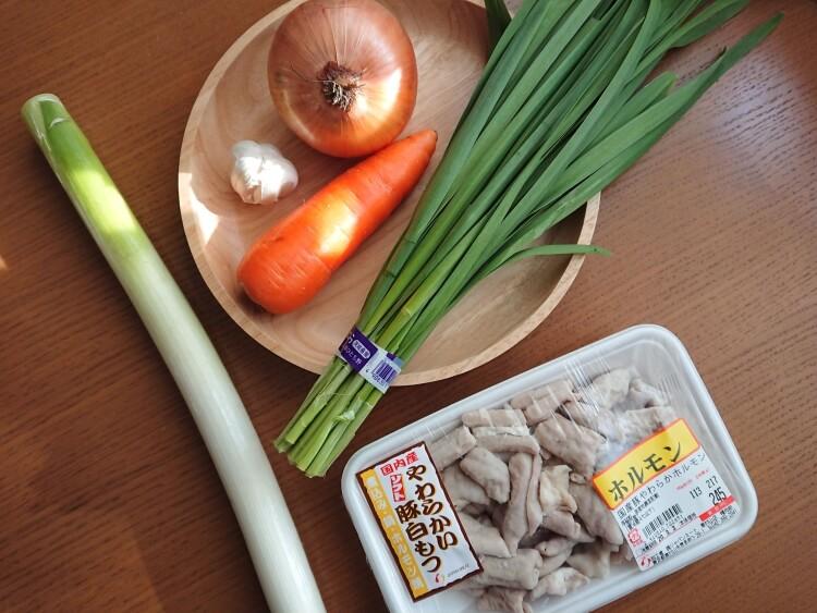 韓国のホルモン焼きコプチャンのレシピ!豚白モツと野菜の旨辛炒めの材料