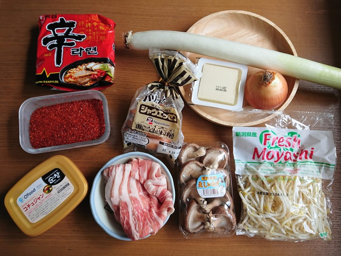チゲ鍋の材料と具材
