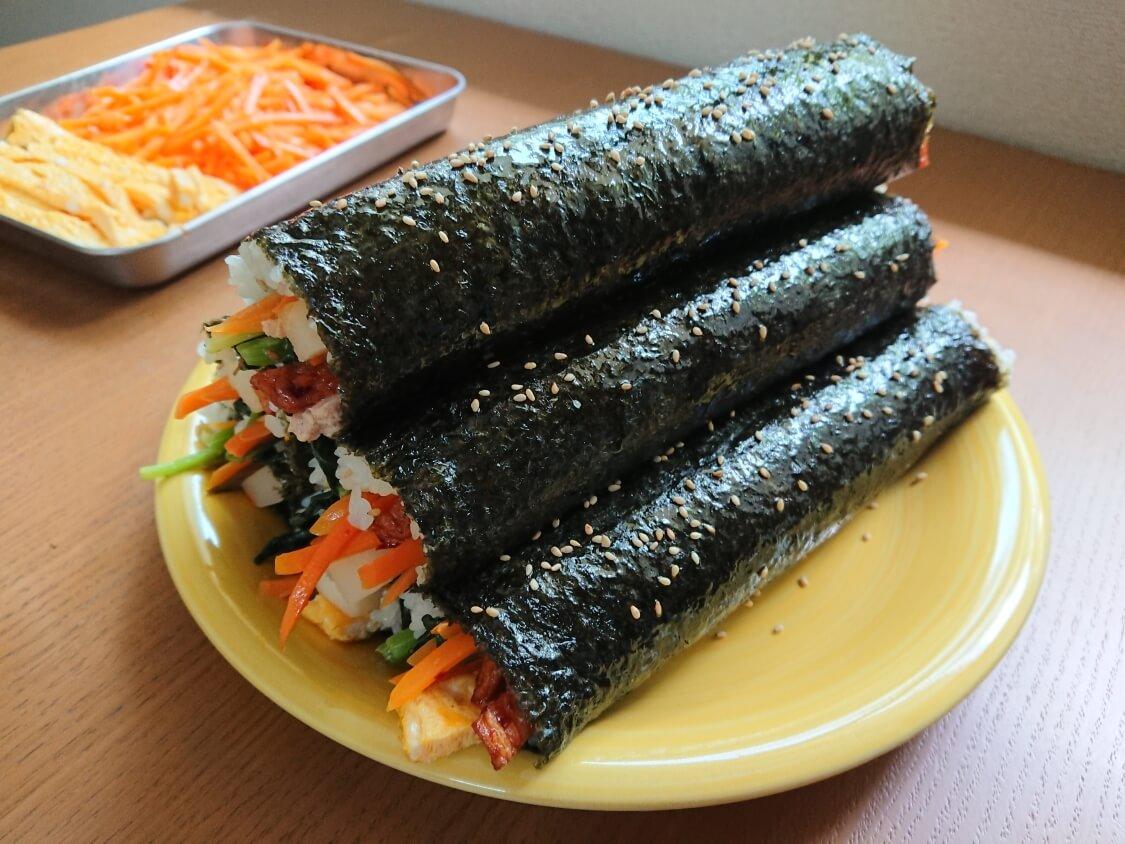 韓国の海苔巻きキンパの簡単レシピ。完成