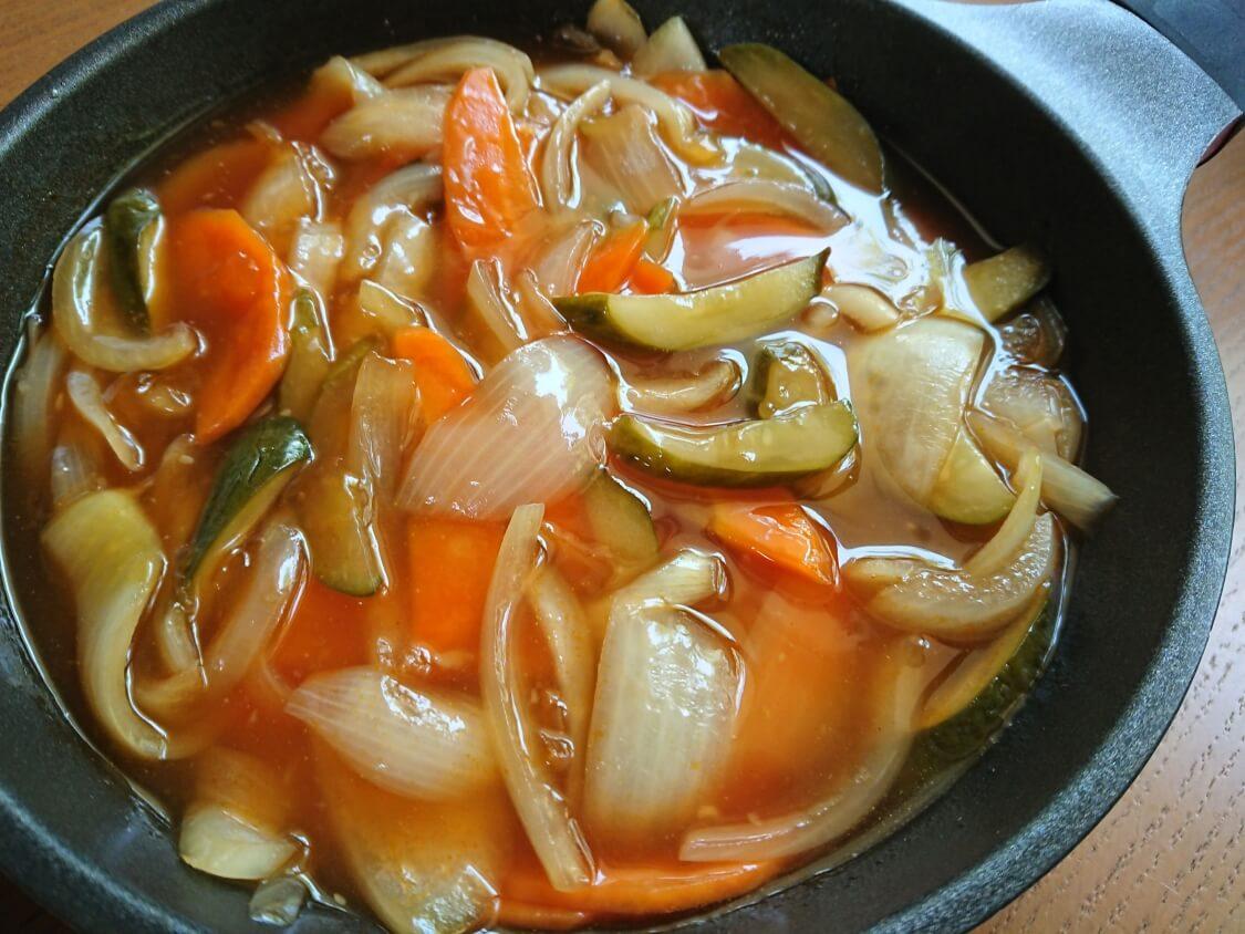 酢豚(韓国タンスユク)のタレの完成