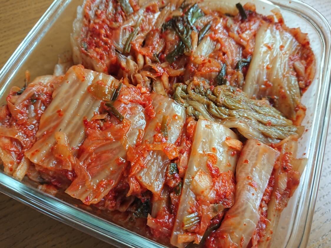 白菜キムチの綺麗な切り方と盛り付け