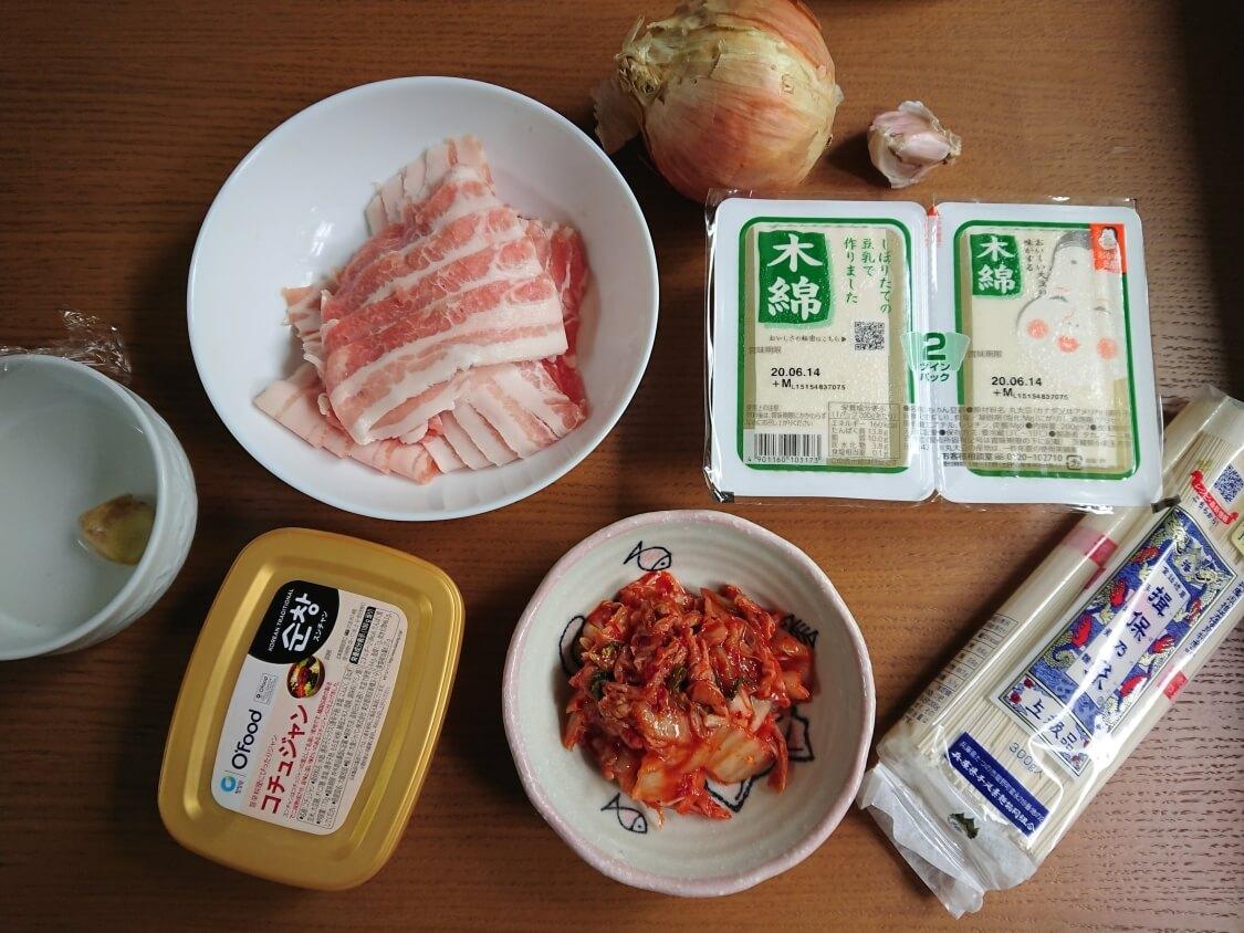 豆腐キムチの韓国レシピ。材料と調味料