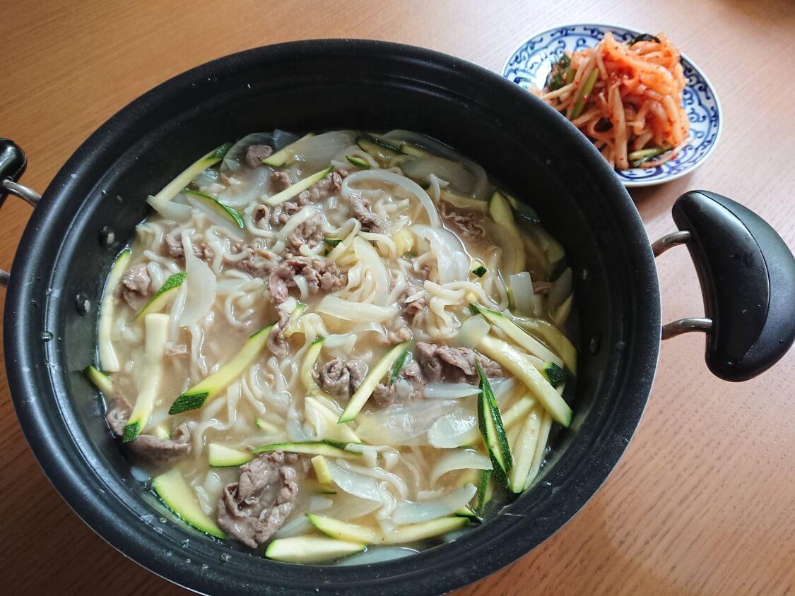 牛肉うどん!韓国のカルグクス簡単レシピ。合う副菜