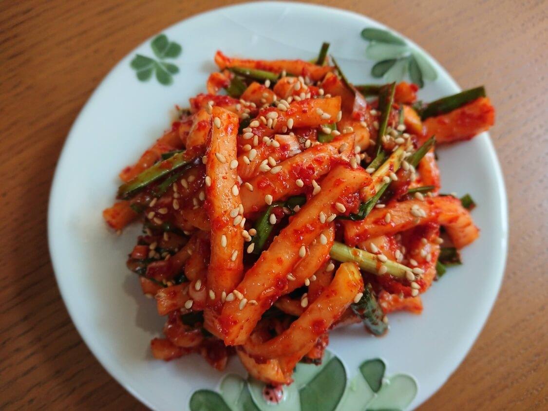 茹で豚の付け合わせに韓国ポッサムキムチ