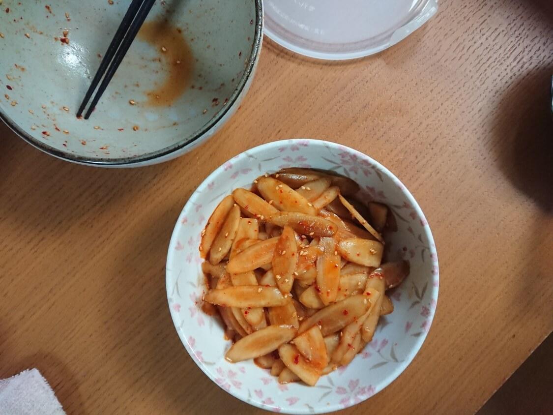 レンジで簡単!ごぼうの酢コチュジャン和えの作り方。作り置きにも