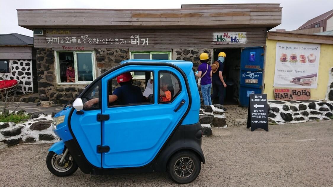 牛島(済州島)の車とお店