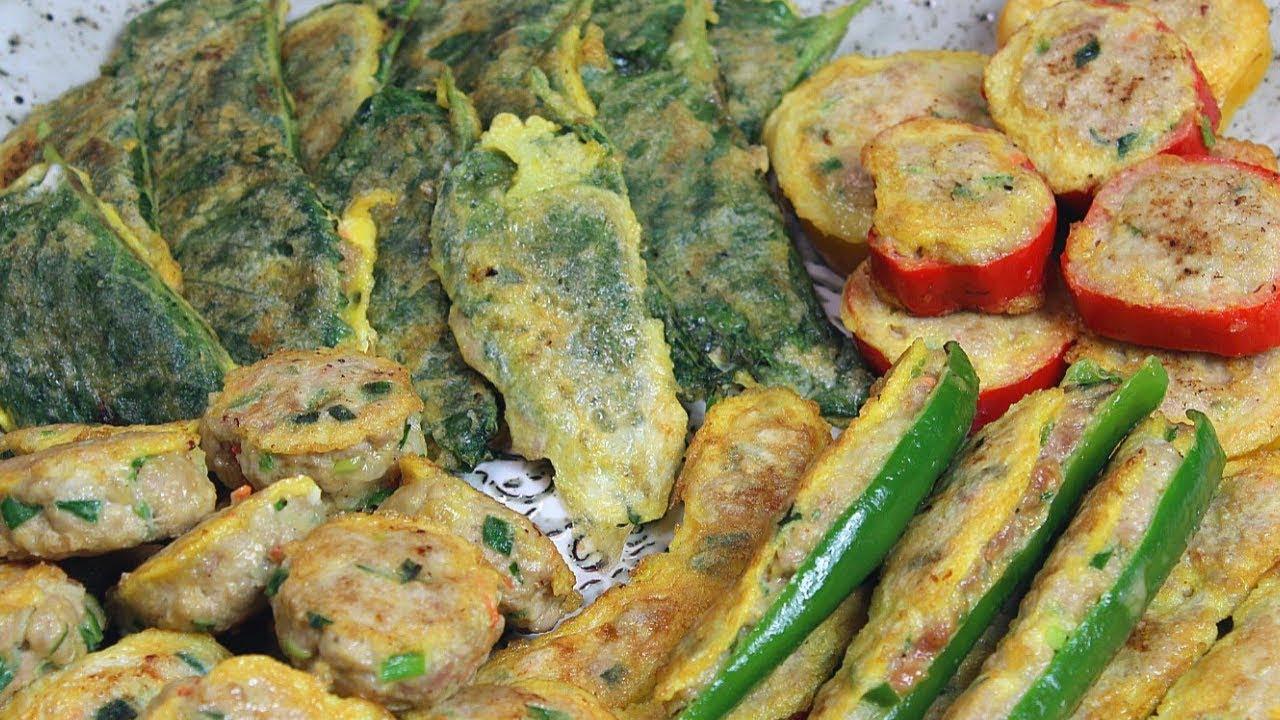 韓国風肉団子トングランテン、野菜とひき肉のチヂミ