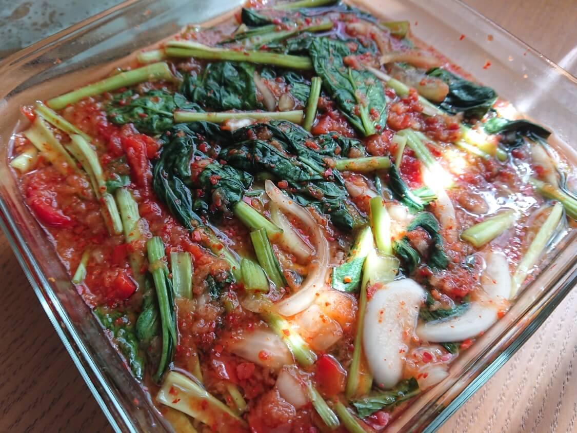 ヨルムキムチ(小松菜のキムチ)。熟成期間と保存期間