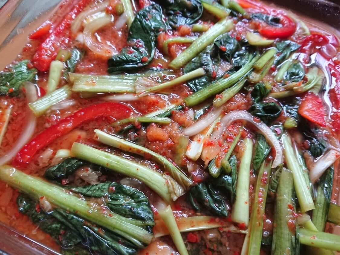 ヨルムキムチ(小松菜のキムチ)。作り置き