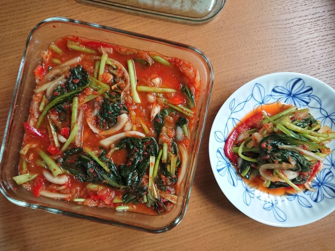 ヨルムキムチ(小松菜のキムチ)。食べ方と麺