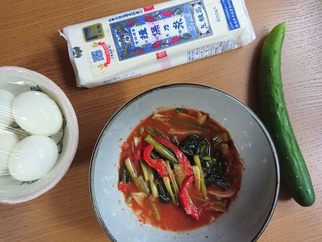 冷麺風キムチそうめん(ヨルムグクス)の韓国レシピ材料