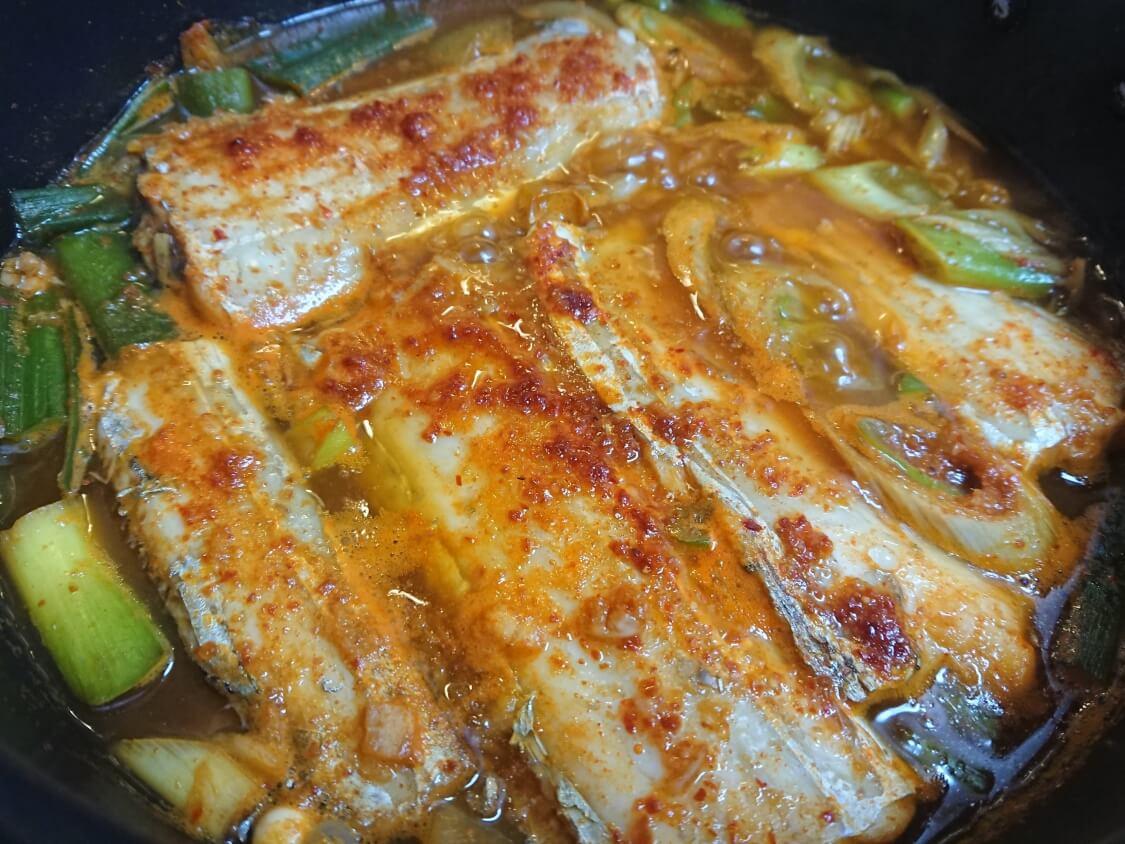 太刀魚の煮付け(カルチチョリム)のレシピ。完成