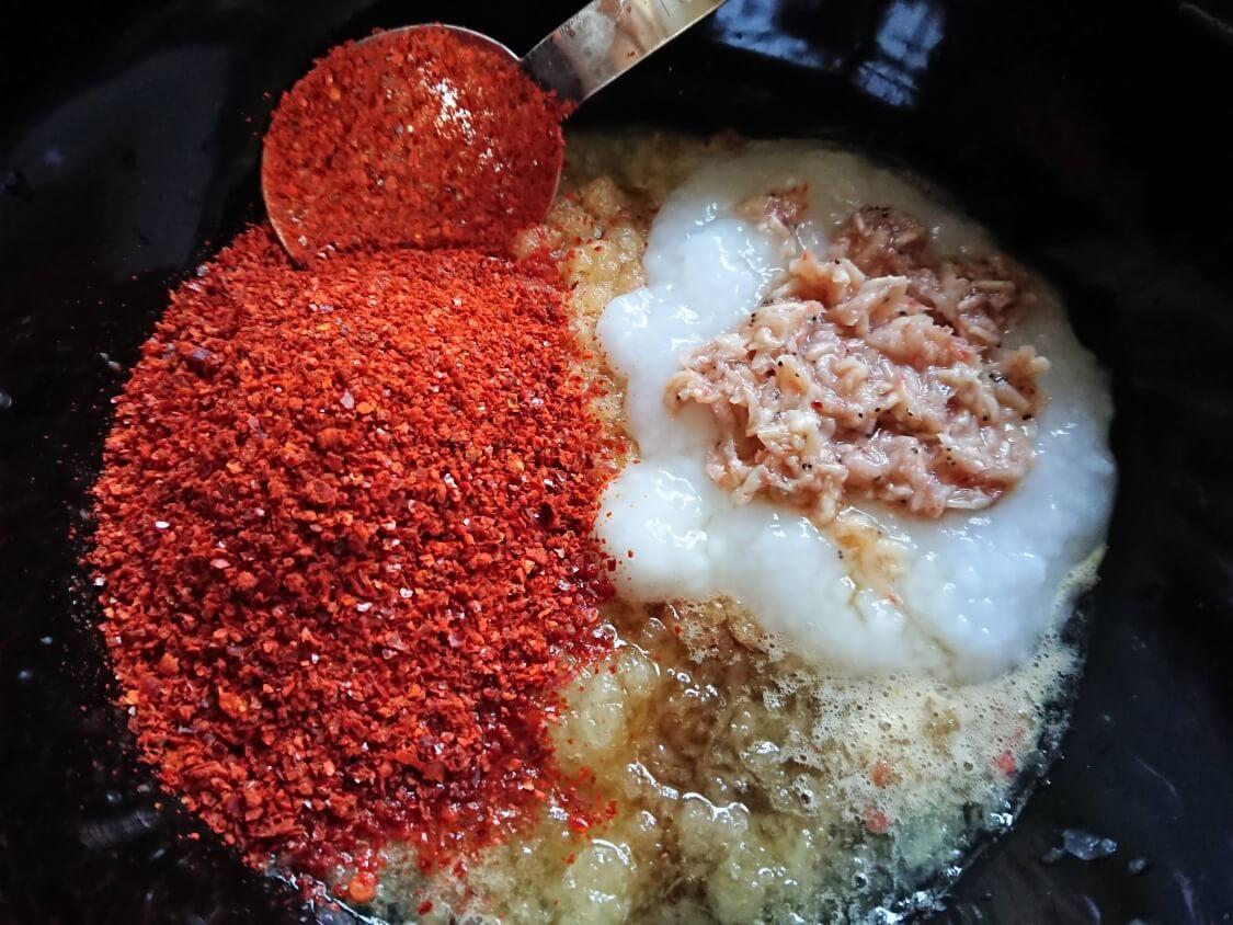 大根の葉入り!カクテキキムチの韓国レシピ。ヤンニョム(味付け)に入る調味料