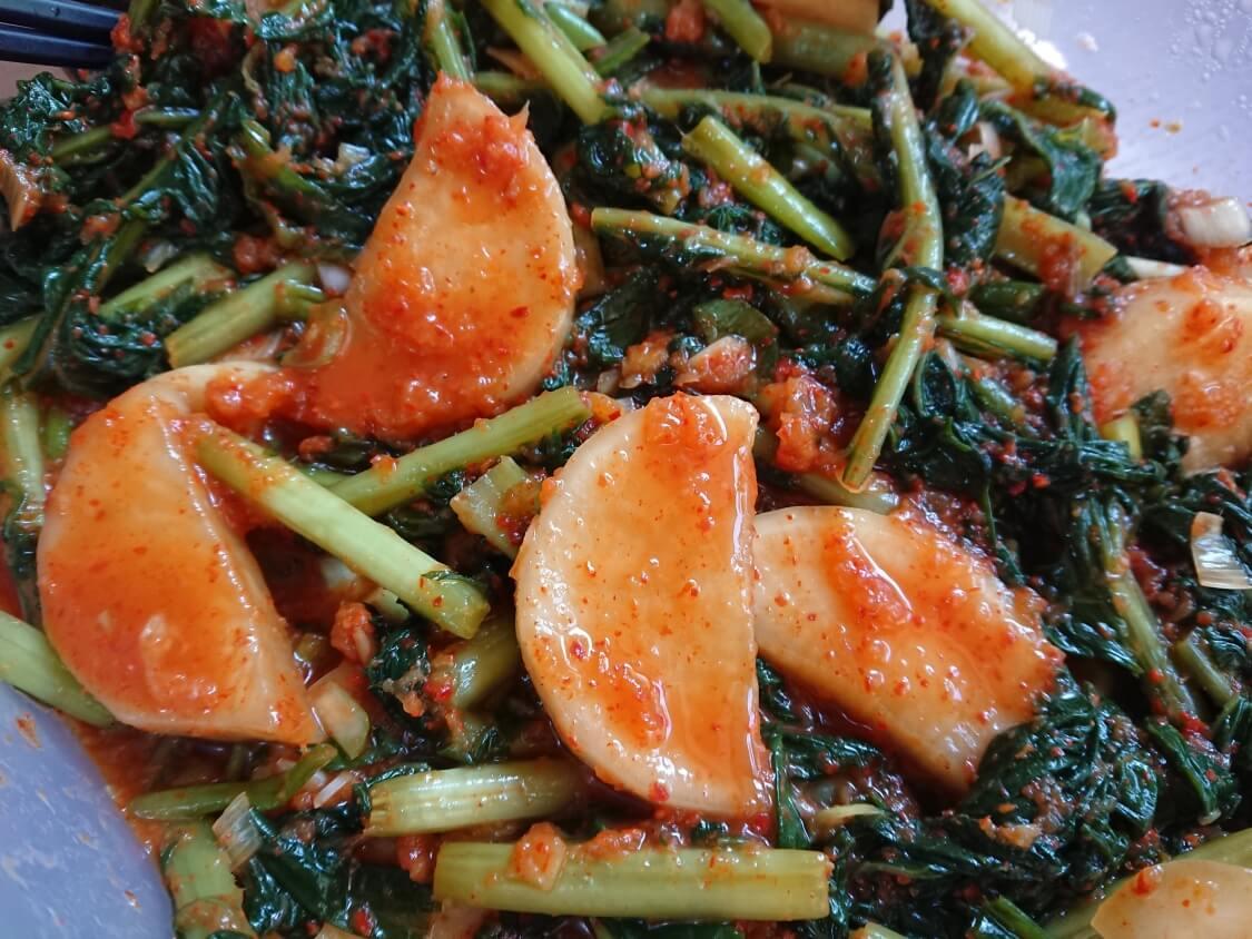 大根の葉入り!カクテキキムチの韓国レシピ。発酵による見た目の変化