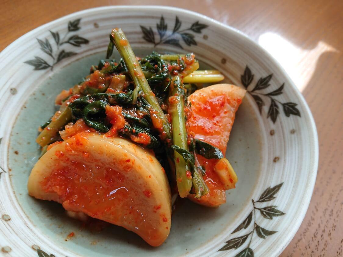 大根の葉入り!カクテキキムチの韓国レシピ。盛り付け