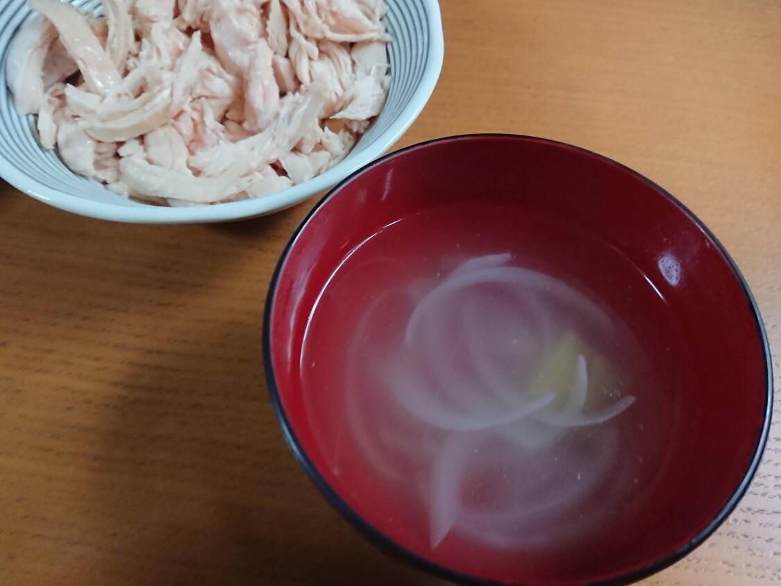 ヘルシービビンバのレシピ。胸肉の茹で汁で作ったスープ