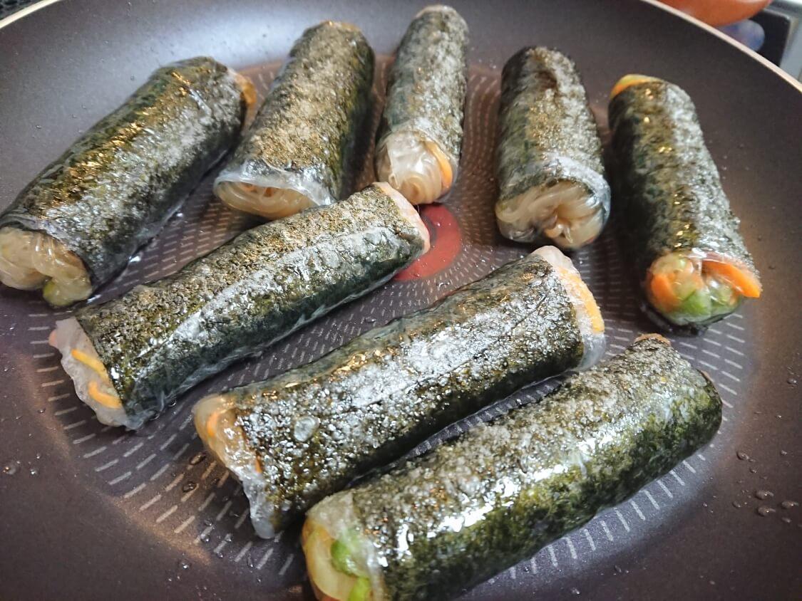 春雨の海苔巻き揚げ(キムマリ)の作り方。フライパンで焼く