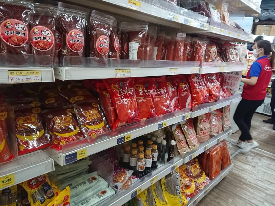 新大久保「ソウル市場」韓国料理の調味料、粉唐辛子