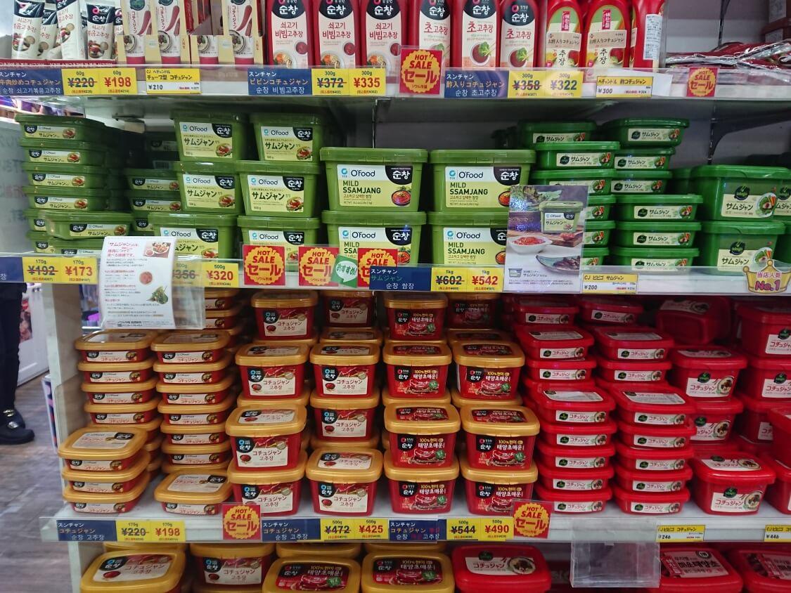 新大久保「ソウル市場」韓国料理の調味料、コチュジャン・サムジャン・テンジャン