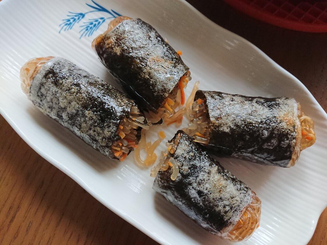 春雨の海苔巻き揚げ(キムマリ)のレシピ。食べ方