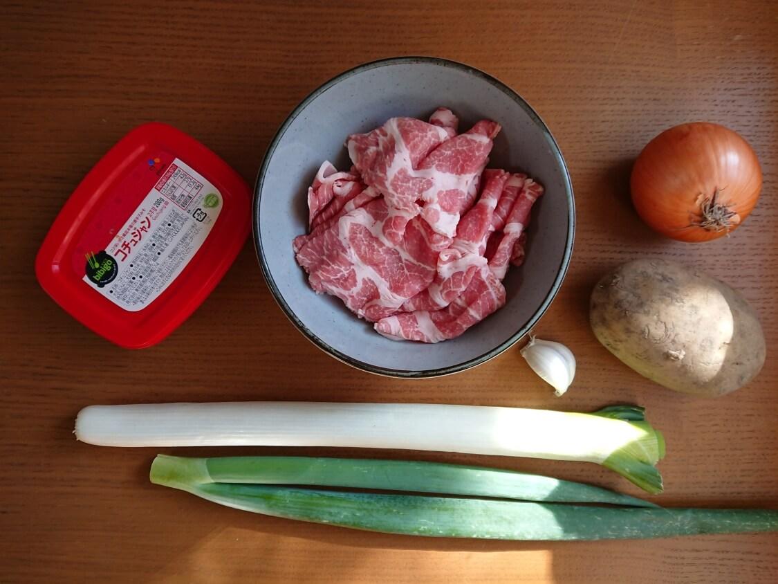 チゲ風♪豚肉とじゃがいものコチュジャン炒め煮レシピ。材料