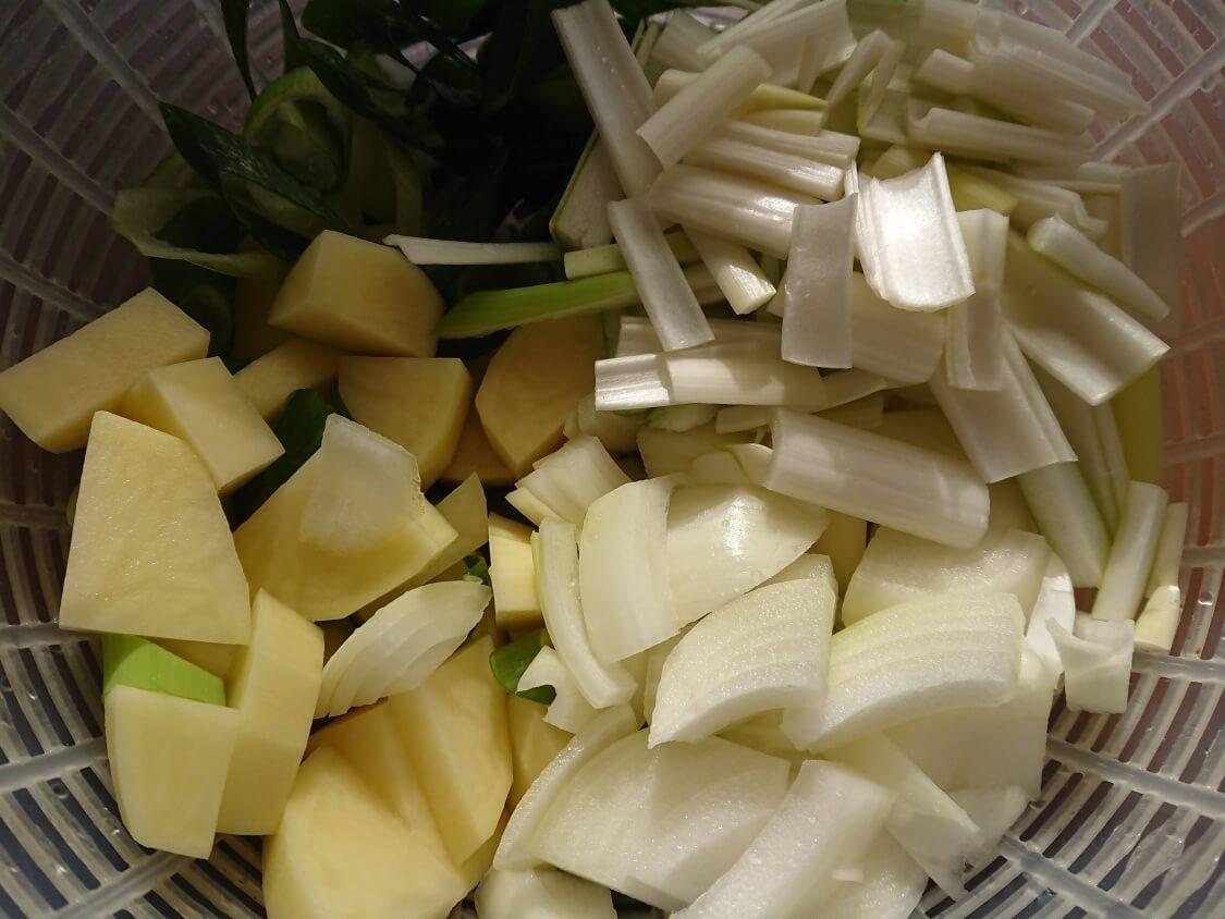 チゲ風♪豚肉とじゃがいものコチュジャン炒め煮の作り方。野菜を切る