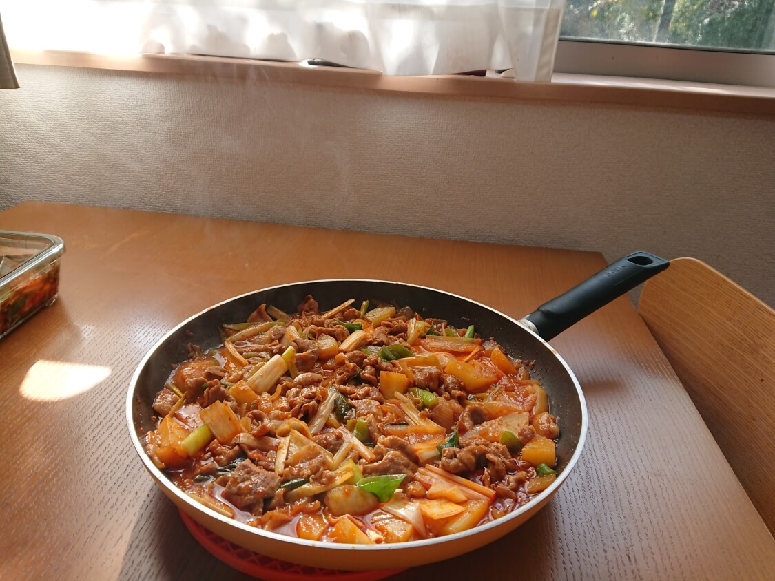 チゲ風♪豚肉とじゃがいものコチュジャン炒め煮の作り方。完成