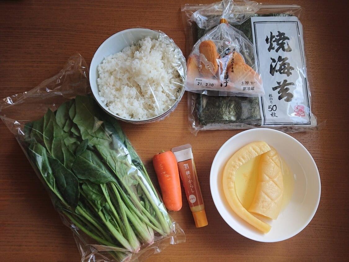簡単!ミニ海苔巻きコマキンパのレシピ。材料と具材