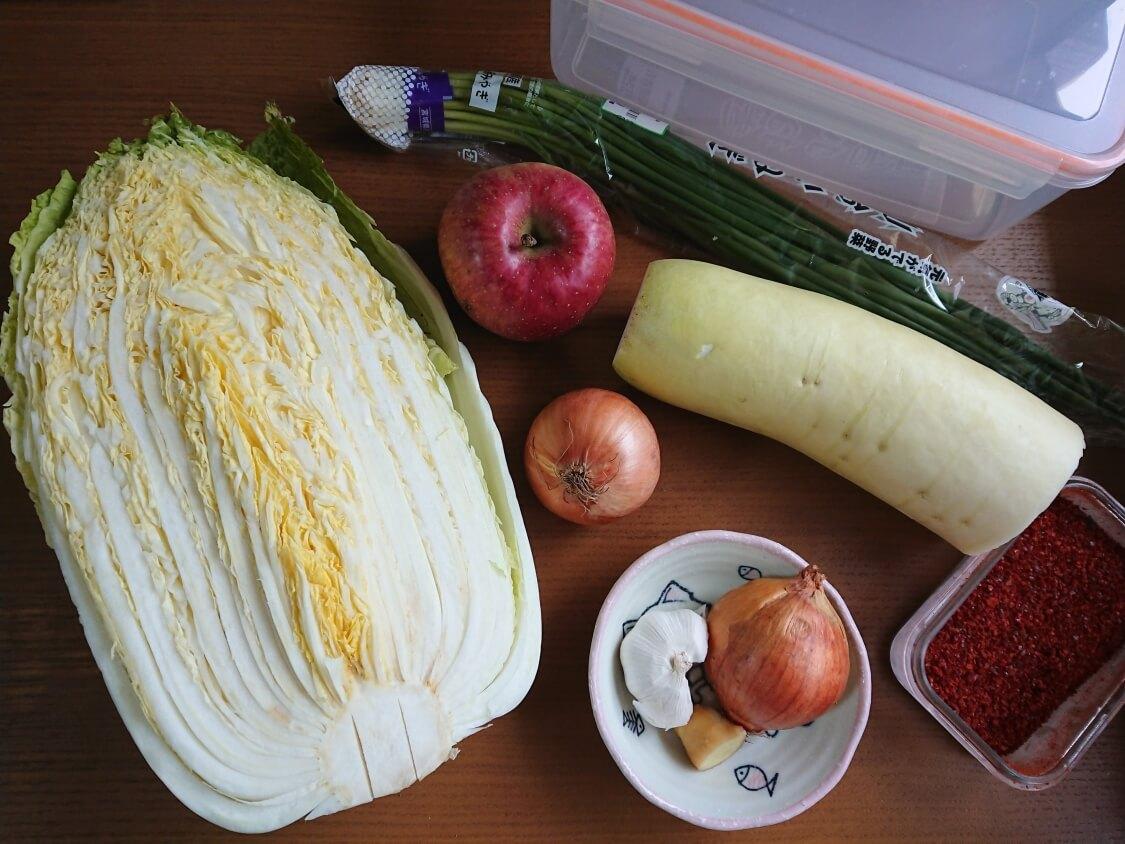白菜たっぷり水キムチの簡単レシピ材料