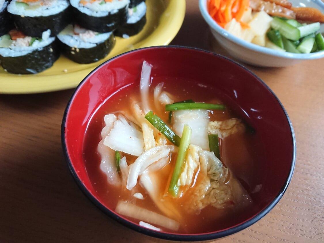 白菜たっぷり水キムチのレシピ。付け合わせ&献立