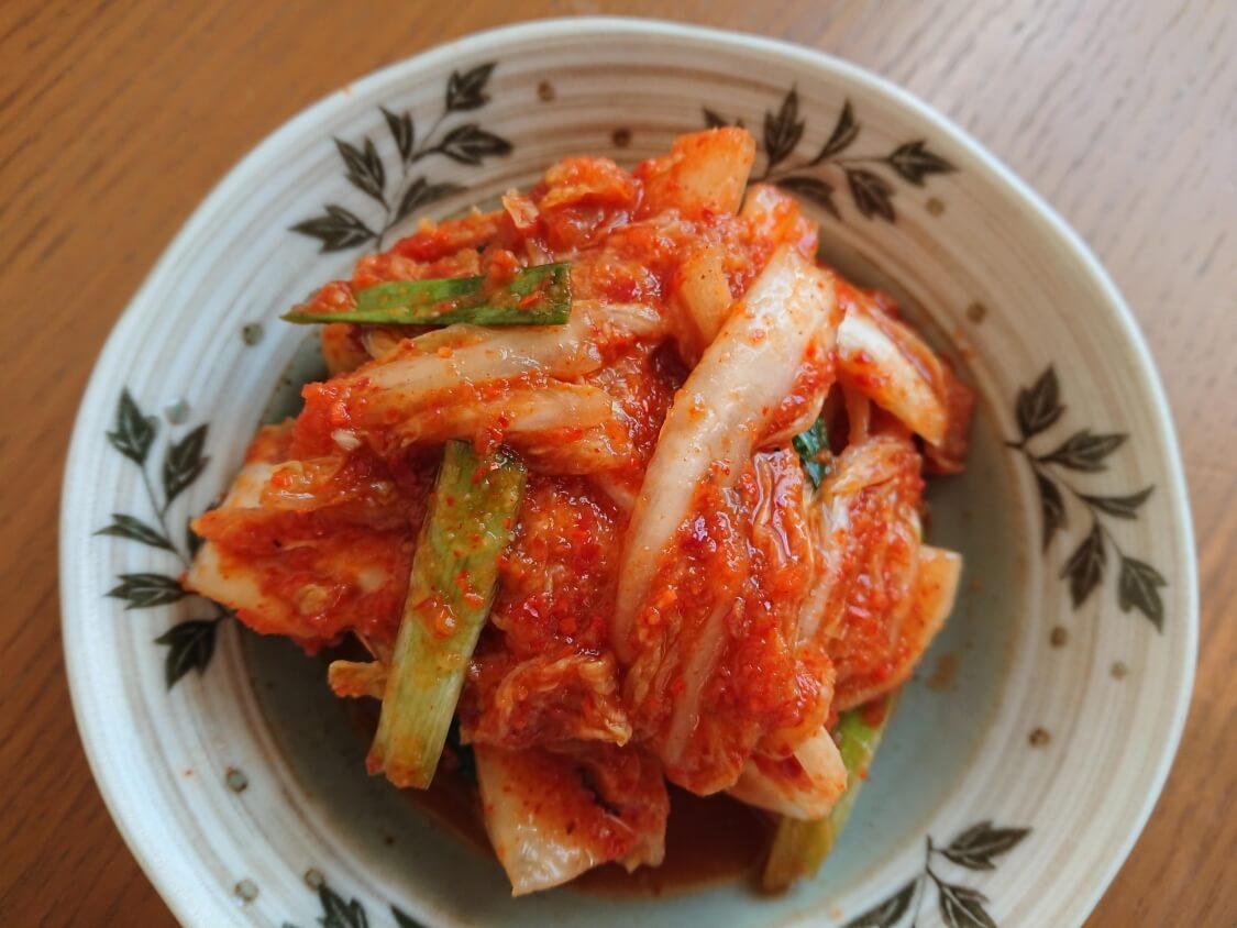 かぼちゃ粥(スープ)の付け合わせ・副菜に、白菜キムチ