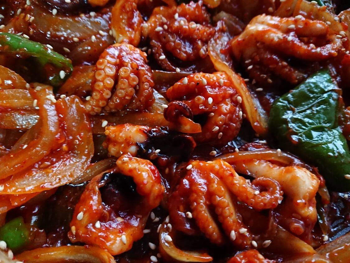 イイダコの旨辛炒め(チュクミポックム)の韓国レシピ。出来上がり